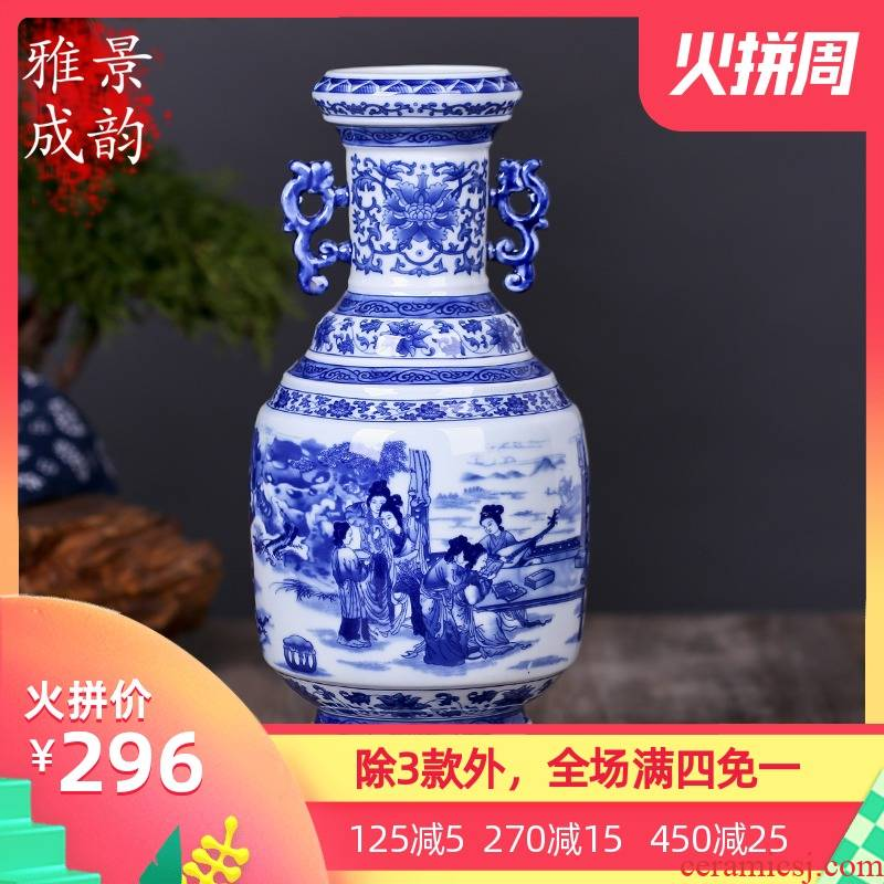 Restoring ancient ways of jingdezhen blue and white porcelain vase zen art ceramics vase flower creative office furnishing articles
