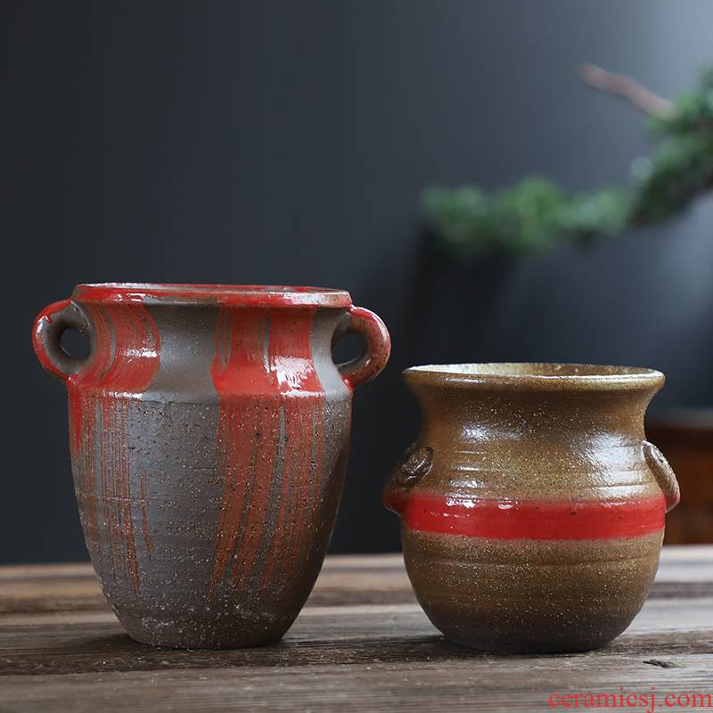 Coarse pottery flowerpot old running wholesale ceramic flowerpot more meat special creative mage how tall hand flowerpot pack mail