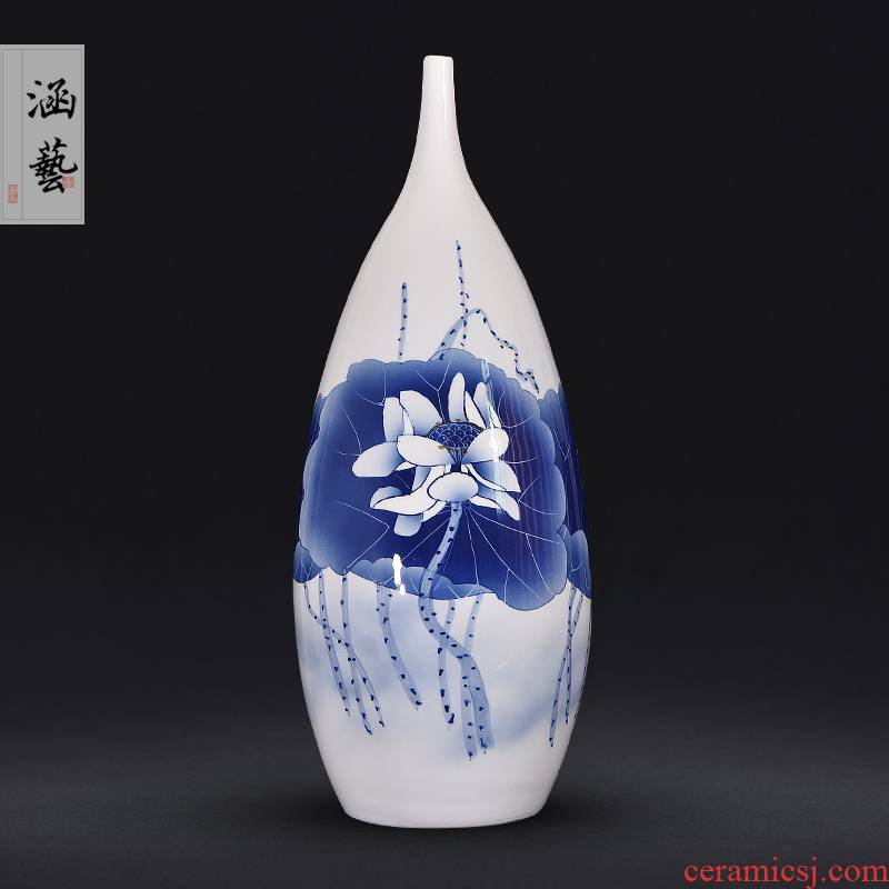 Jingdezhen blue and white lotus flower vases, flower arrangement sitting room of Chinese style household decorations ceramics hand - made of TV ark, furnishing articles