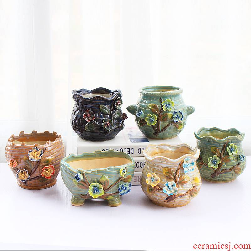 Fleshy flowerpot ceramic Chinese wind restoring ancient ways is the sitting room of creative move hand take indoor flesh big flower pot the plants