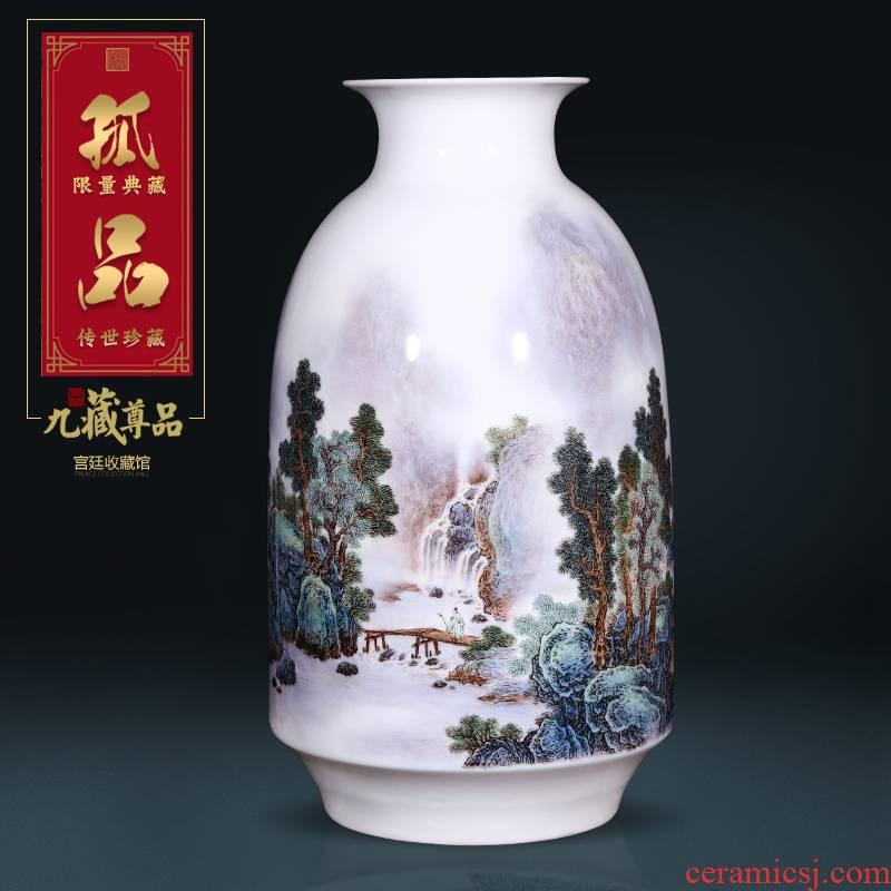 Jingdezhen ceramics dong - Ming li hand - made pastel landscape vase Chinese style living room porch TV ark, flower arranging furnishing articles