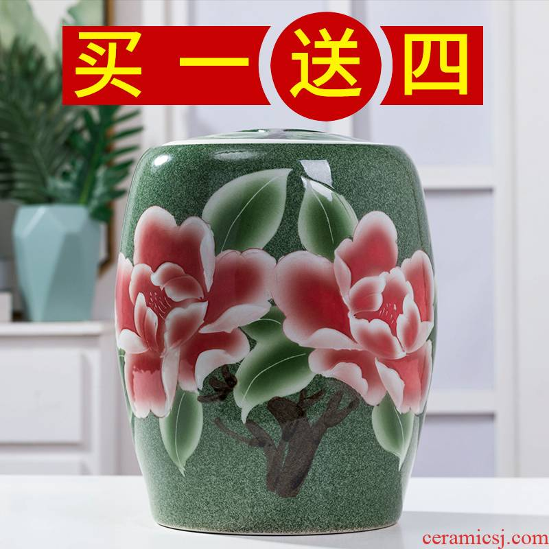 Jingdezhen ceramic ricer box barrel storage bins 30 jins of large capacity storage tank with cover seal household moistureproof insect - resistant