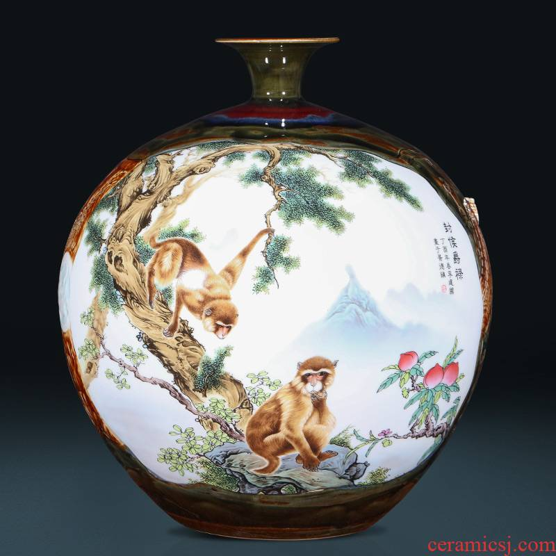 Archaize of jingdezhen ceramics powder enamel up carved Chinese big vase sitting room porch place gifts