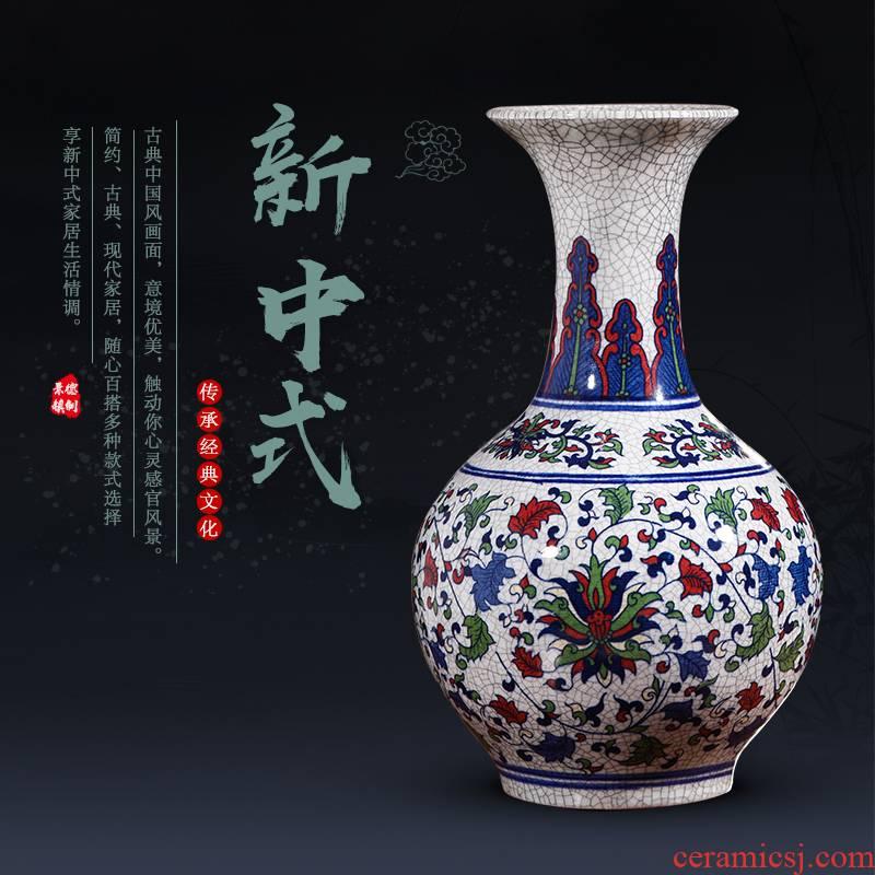 Jingdezhen ceramic antique vases, small open piece of multicoloured sitting room place flower arrangement of TV ark, wine crafts