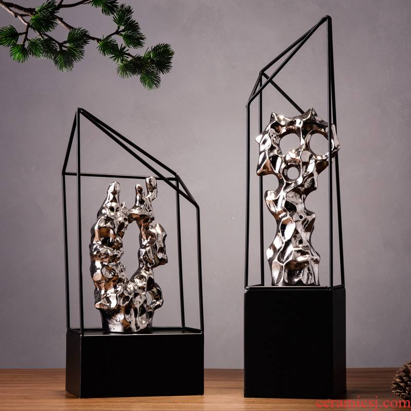 Office decoration furnishing articles creative taihu, wrought iron handicraft, the sitting room is the study of new Chinese style household act the role ofing is tasted ceramics