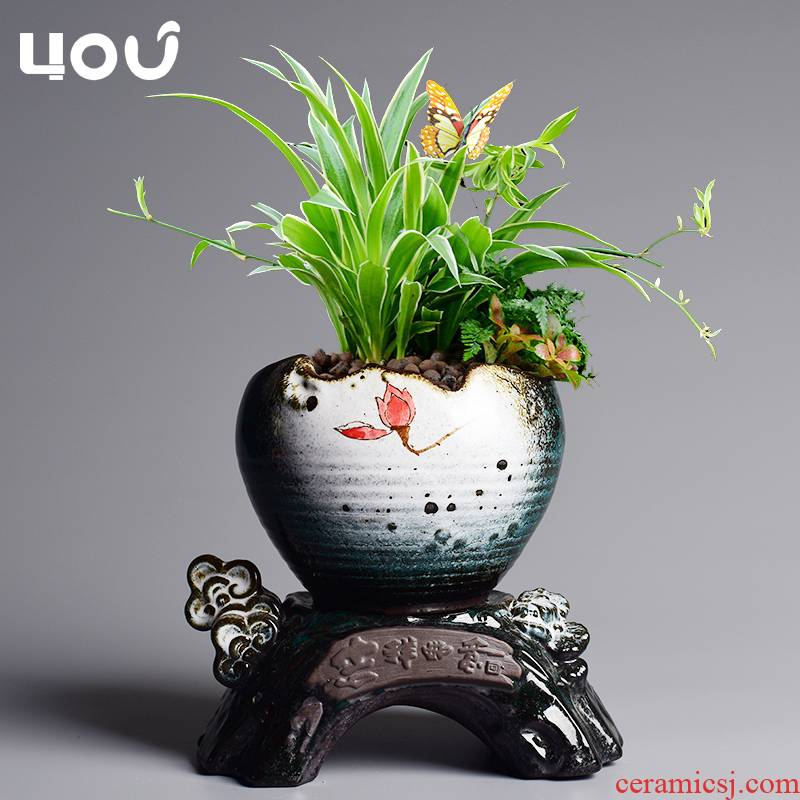 Chinese wind lazy flower pot water type automatic suction pot ceramic household creative butterfly orchid green plant bonsai POTS
