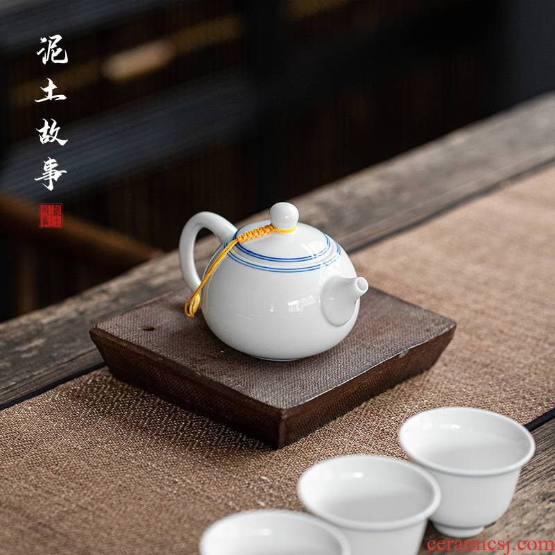 Earth story jingdezhen sweet white hand teapot xi shi household small single pot of tea pot set hand - made