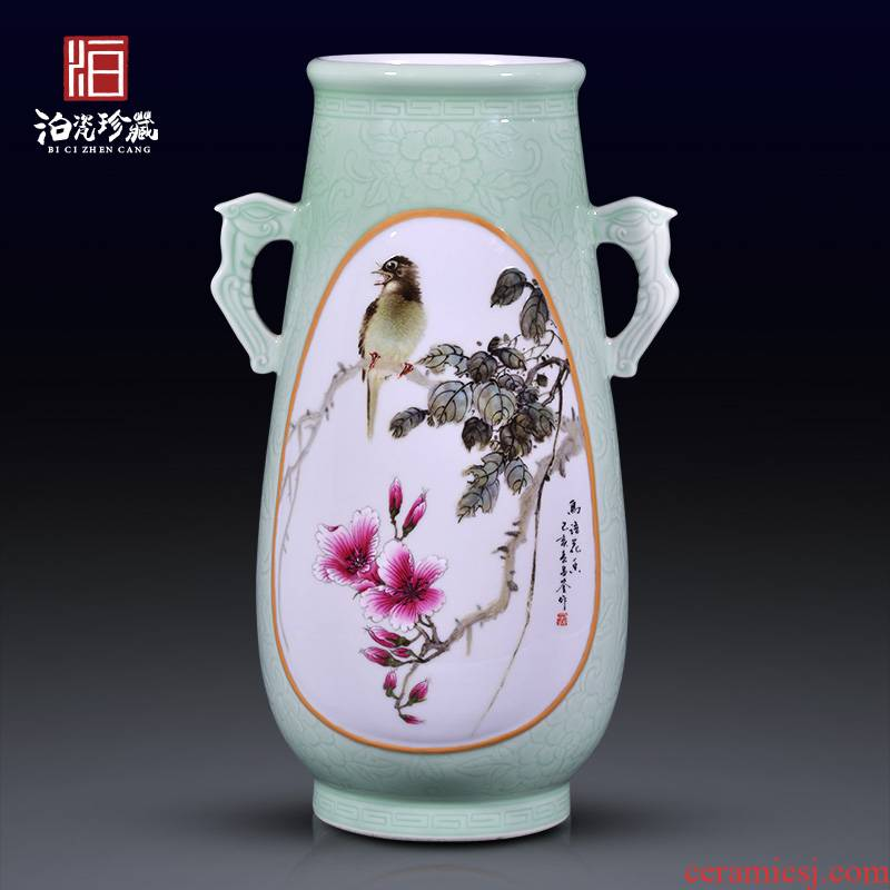 Jingdezhen ceramic hand - made flowers and birds all ears large vases, flower arranging rich ancient frame of Chinese style household adornment collection furnishing articles