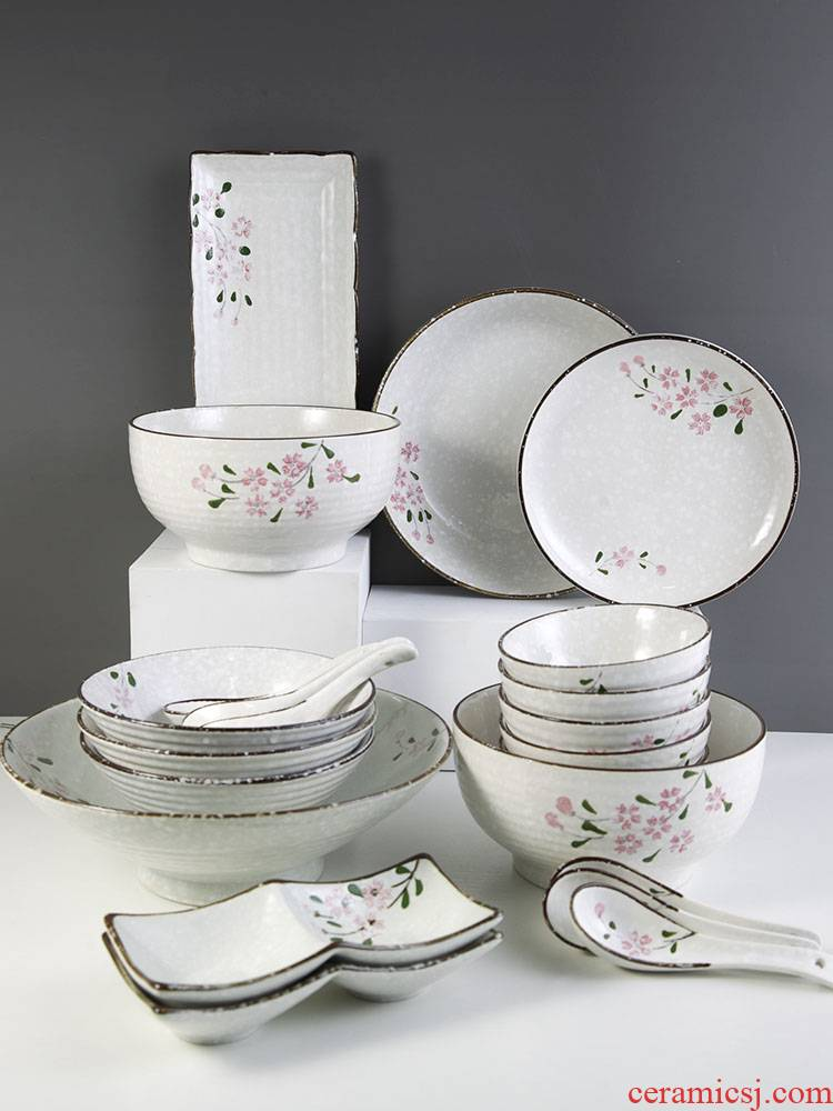 And the four seasons under Japanese snowflake enamel color ceramic tableware bowls of soup bowl rainbow such use household ramen hat to bowl
