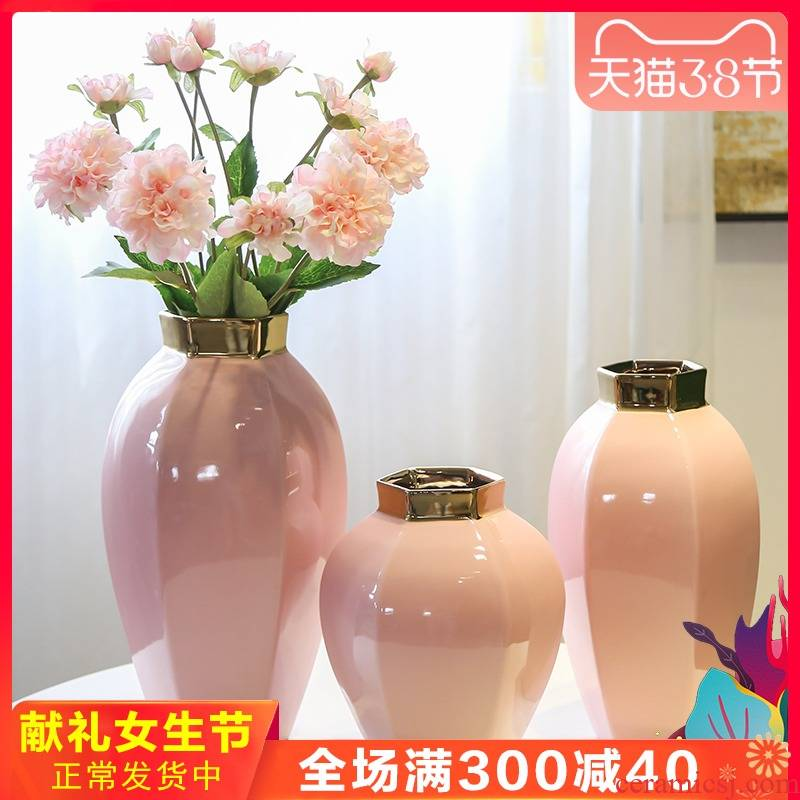 Jingdezhen ceramic vases, the sitting room porch TV ark edge ark of what adornment flowers simulation flower flower gold furnishing articles