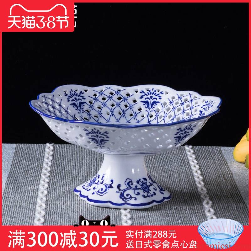 Blue and white porcelain tribute household large sitting room tea table of fruit compote Chinese tall hollow out snacks compote