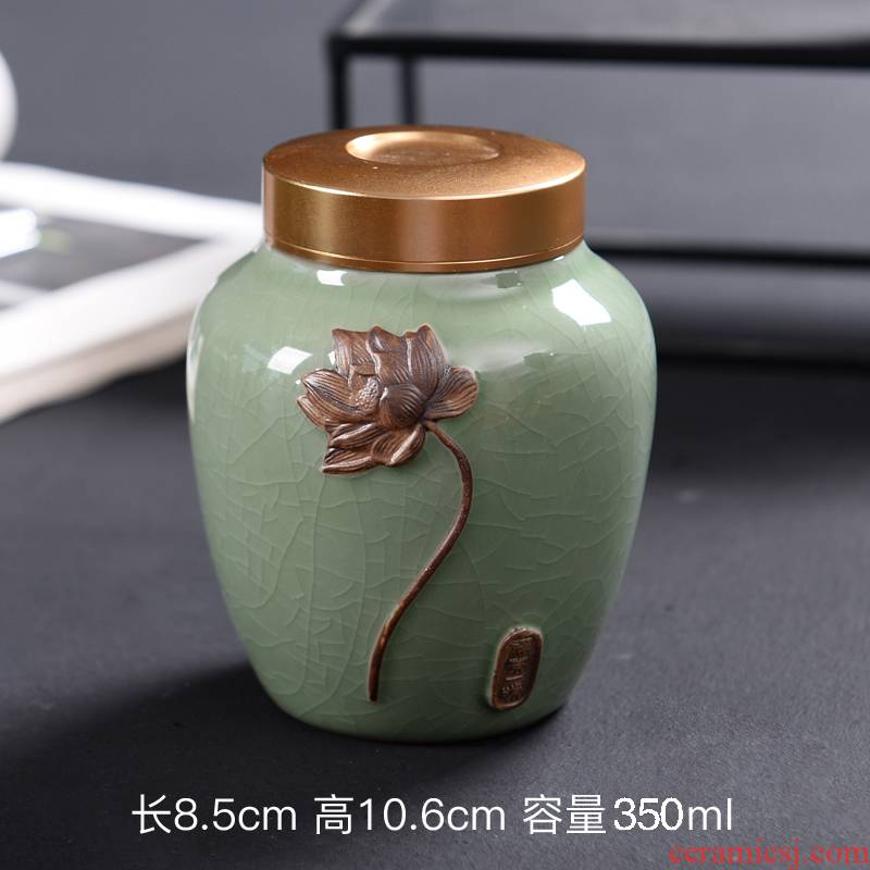 Elder brother up with ceramic purple sand tea caddy fixings seal storage canned tea pot pu 'er tea box box