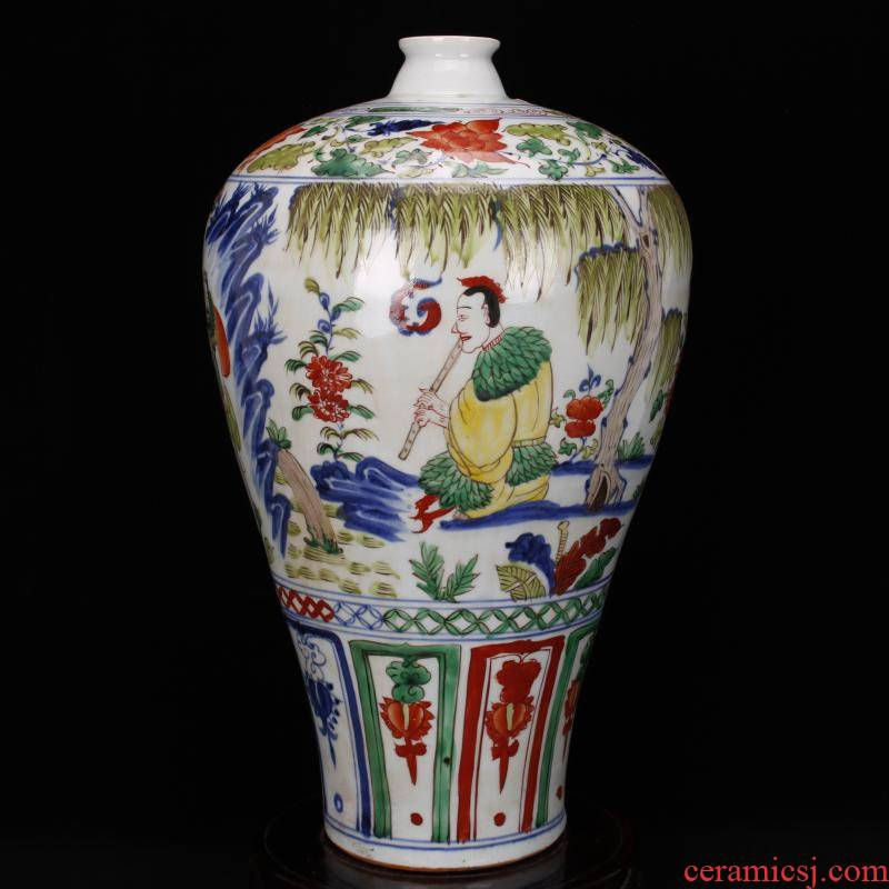Jingdezhen antique antique imitation yuan pure manual bucket color colorful eight immortals person name plum bottle after Chinese ancient furnishing articles