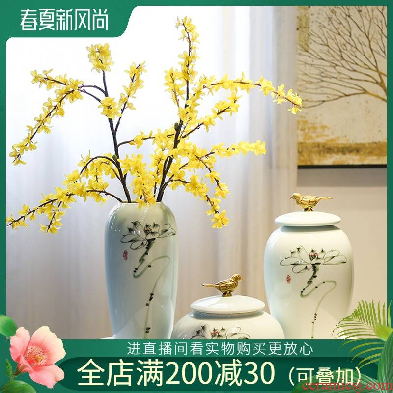 The New Chinese jingdezhen soft outfit hand - made ceramic vase jar contracted hotel copper art example room porch place