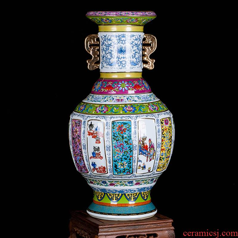 Jingdezhen ceramics porcelain imitation qianlong years wanda, vases, home sitting room of Chinese style classic decorative crafts