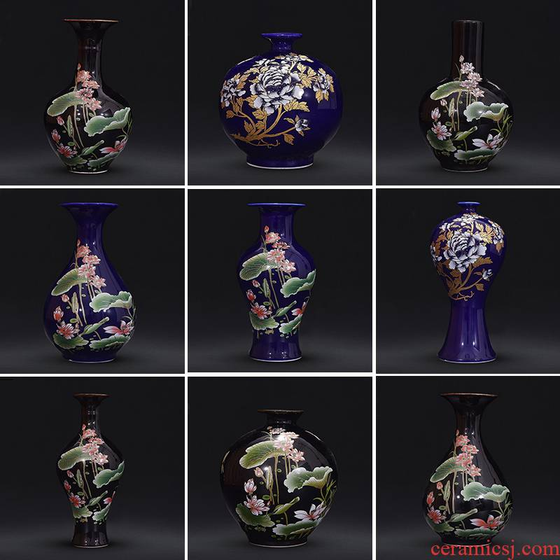 Jingdezhen ceramic vase furnishing articles sitting room dry flower arranging flowers sharply glaze small pure and fresh and modern Chinese style household ornaments