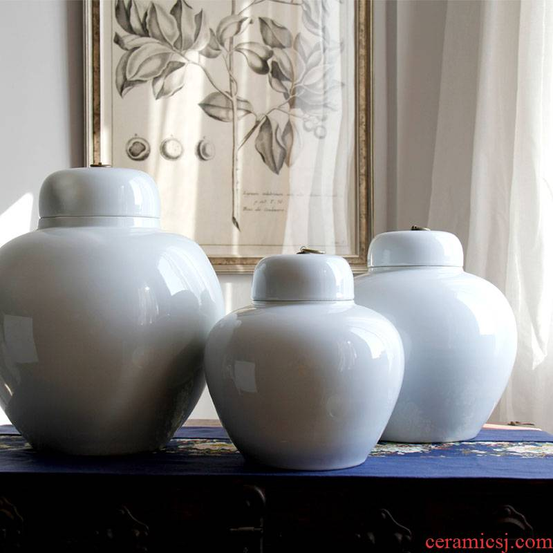 Opens to booking a general model of jingdezhen ceramics white ceramic pot classical household single glaze soft adornment is placed