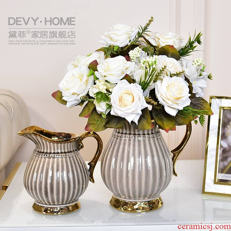 Modern light key-2 luxury ceramic vase European sitting room tea table table simulation flowers, flowers, floral soft adornment is placed