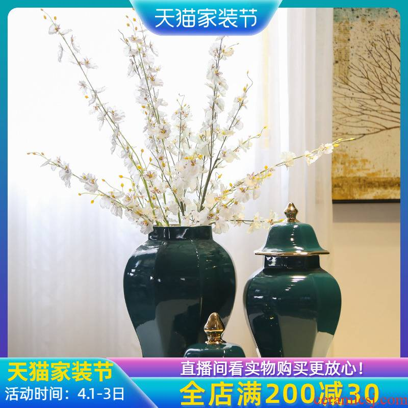 Jingdezhen new Chinese style originality gold - plated flower is placed between example hotel general pot vase in the sitting room porch decoration
