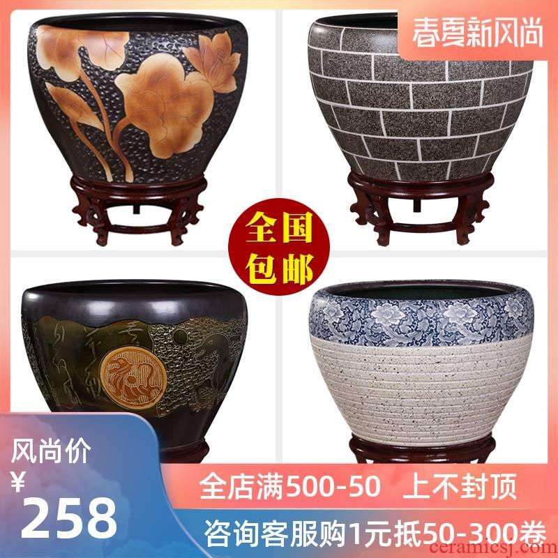 Jingdezhen ceramic aquarium turtle cylinder basin of water lily lotus goldfish bowl sitting room king fish bowl lotus cylinder