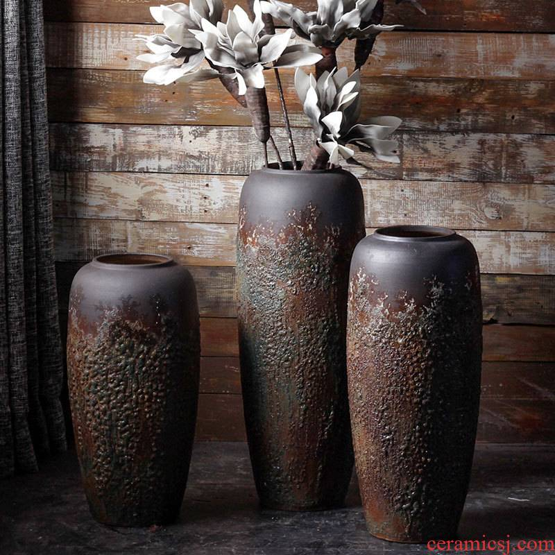 The Big vase furnishing articles sitting room ground do old coarse pottery flower arranging bottles home furnishing articles of handicraft ceramic pottery decoration