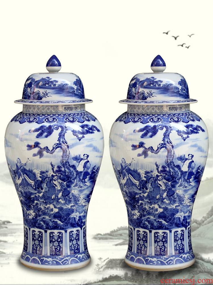 Jingdezhen ceramic checking furnishing articles general blue and white porcelain jar storage jar of new Chinese style home sitting room adornment ornament