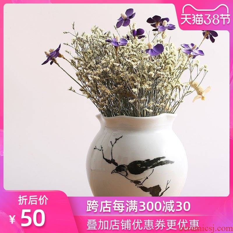 Art show I and contracted hand - made ceramic vases, dried flowers of new Chinese style suit jingdezhen porcelain desktop furnishing articles in the living room