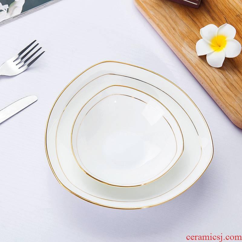 Jingdezhen porcelain household pure white ipads porcelain paint triangle soup plate pasta FanPan salad vegetables dishes ceramic plate