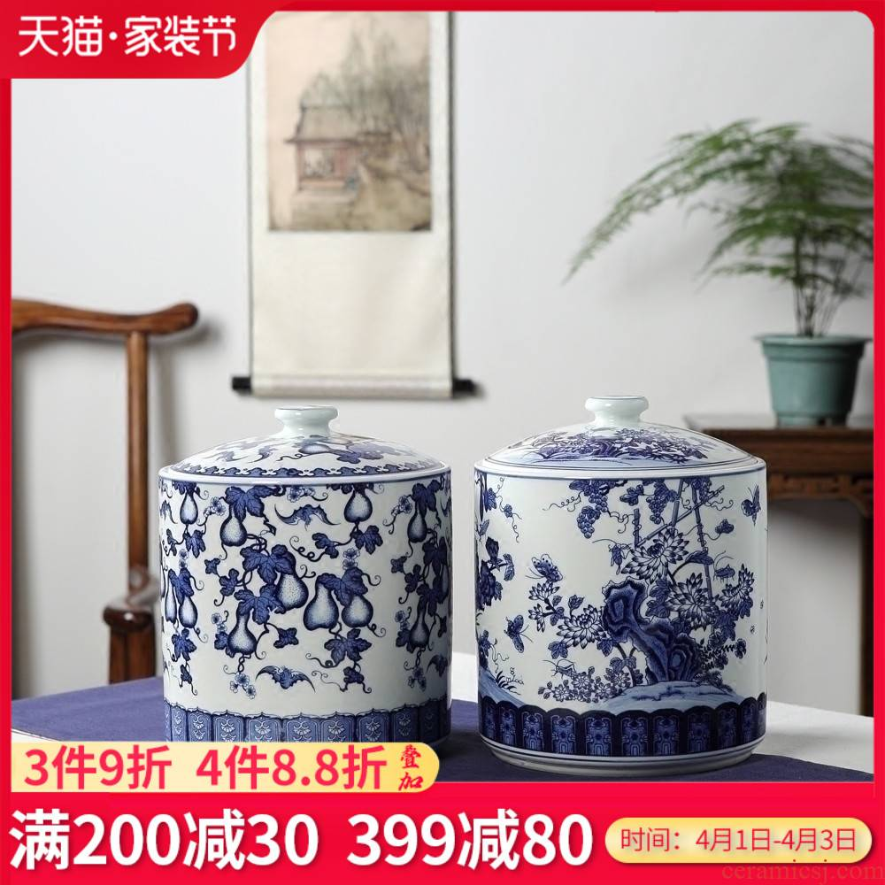 Blue and white porcelain of jingdezhen ceramics furnishing articles puer tea snack jars storage jar home sitting room accessory products