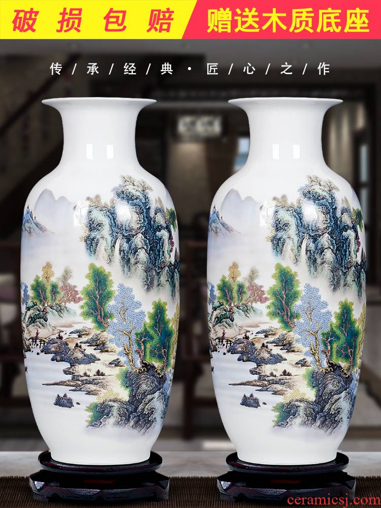 Jingdezhen ceramics archaize large blue and white porcelain vase furnishing articles home sitting room lucky bamboo flower arrangement craft ornaments