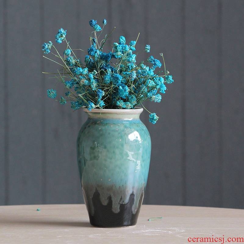 Jingdezhen ceramic creative flow porcelain glaze small vase household adornment hydroponic flowers inserted grass cooper