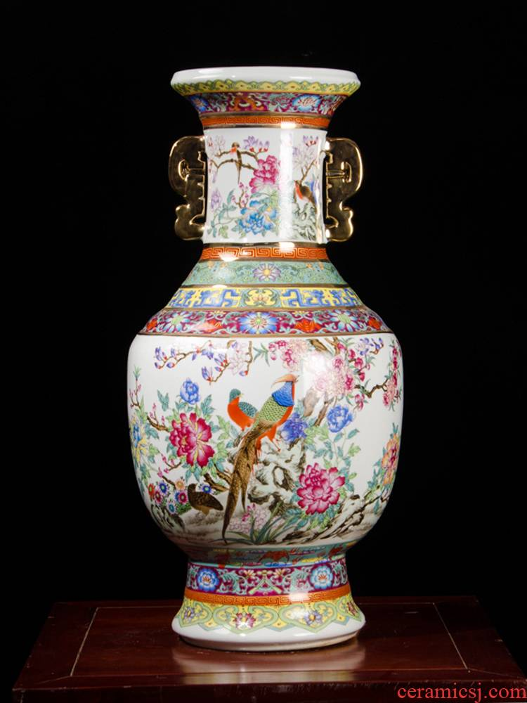 Jingdezhen ceramics powder enamel imitation qianlong years ears of large vases, archaize sitting room adornment is placed