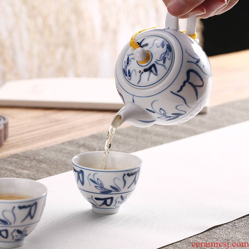 Babson d dehua white porcelain teapot filtering hand - made ceramic beauty of blue and white porcelain pot of single pot of kung fu tea set home