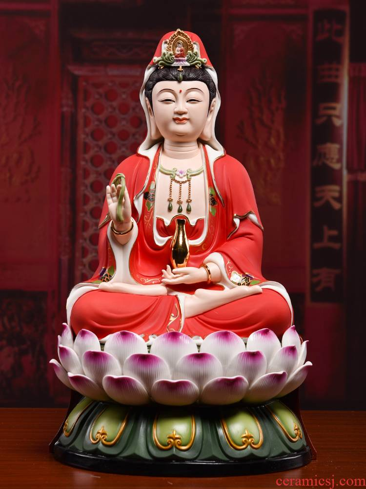 Yutang dai ceramic guanyin bodhisattva figure of Buddha enshrined furnishing articles home red color lotus goddess of mercy as a smiling face