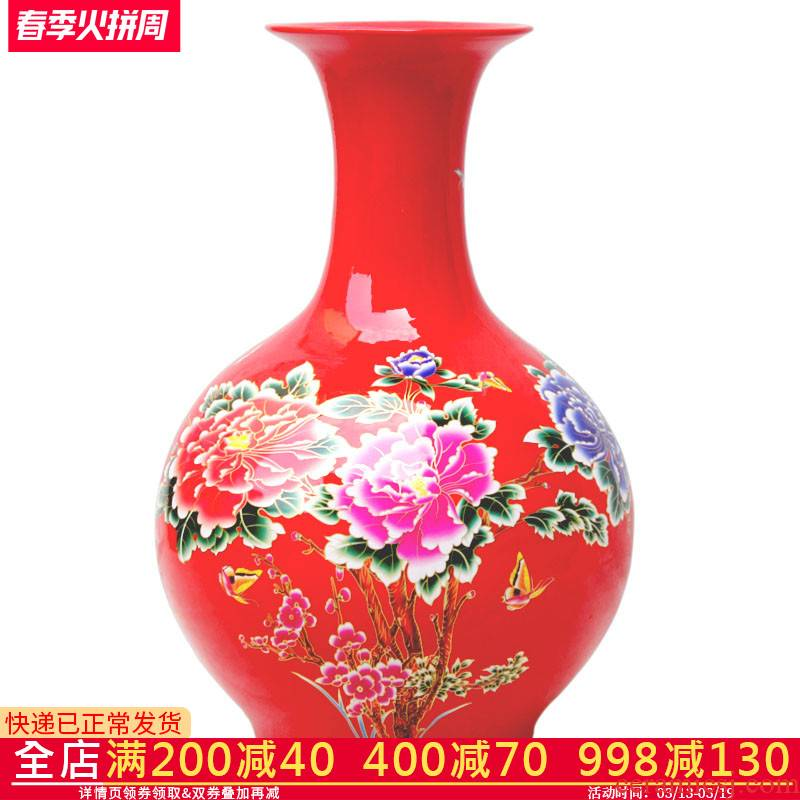 Aj38 rich large vase furnishing articles red flowers open China jingdezhen ceramics sitting room of Chinese style household furnishing articles