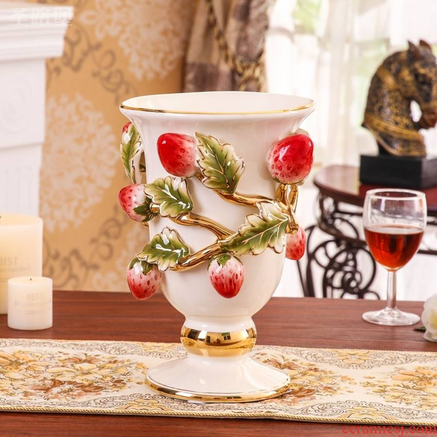 Europe type color ceramic gold vase creative rural household soft adornment handicraft sitting room desktop vase furnishing articles