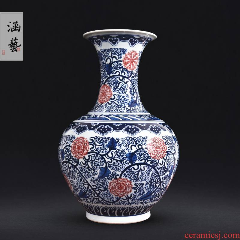 Jingdezhen ceramics hand - made antique blue - and - white youligong bottle vase collection home sitting room handicraft furnishing articles
