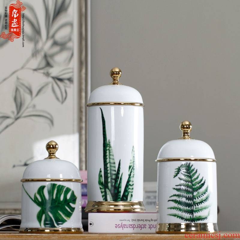 Jingdezhen ceramic vases, POTS furnishing articles sitting room between example leaves gold - plated flower arranging dried flower adornment storage tank
