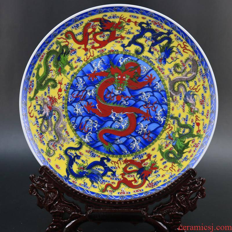 Jingdezhen imitation com.lowagie.text.paragraph qianlong Kowloon lines to admire the dish hang dish sitting room cabinet study of new Chinese style household adornment furnishing articles