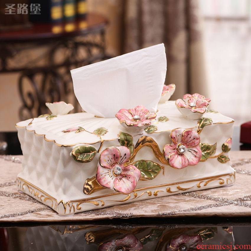 European rural ceramic tissue box house sitting room color carton furnishing articles wedding gifts home decoration
