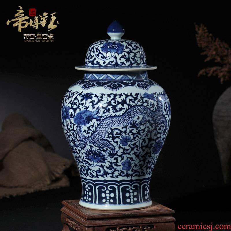 General antique blue and white porcelain of jingdezhen ceramics longfeng pot furnishing articles sitting room TV cabinet storage tank handicraft