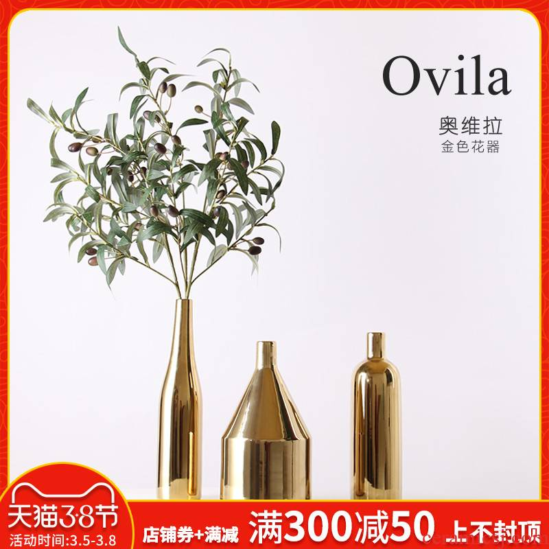 Creative contracted Nordic household table wine sitting room adornment home furnishing articles aureate ceramic dry flower vase