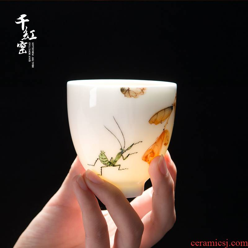 Thousand red up hand - made works ceramic masters cup kung fu tea sample tea cup under the glaze colorful Chinese liling porcelain