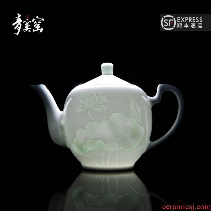 Bluish white porcelain up jingdezhen ceramics green was manual contracted household kung fu tea tea set large single pot the teapot