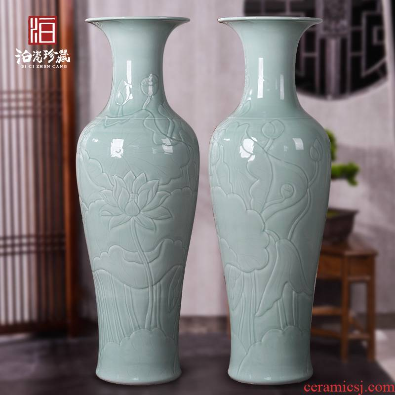 Jingdezhen ceramic Chinese carving furnishing articles sitting room of large vase the accumulate large feng shui hotel opening gifts