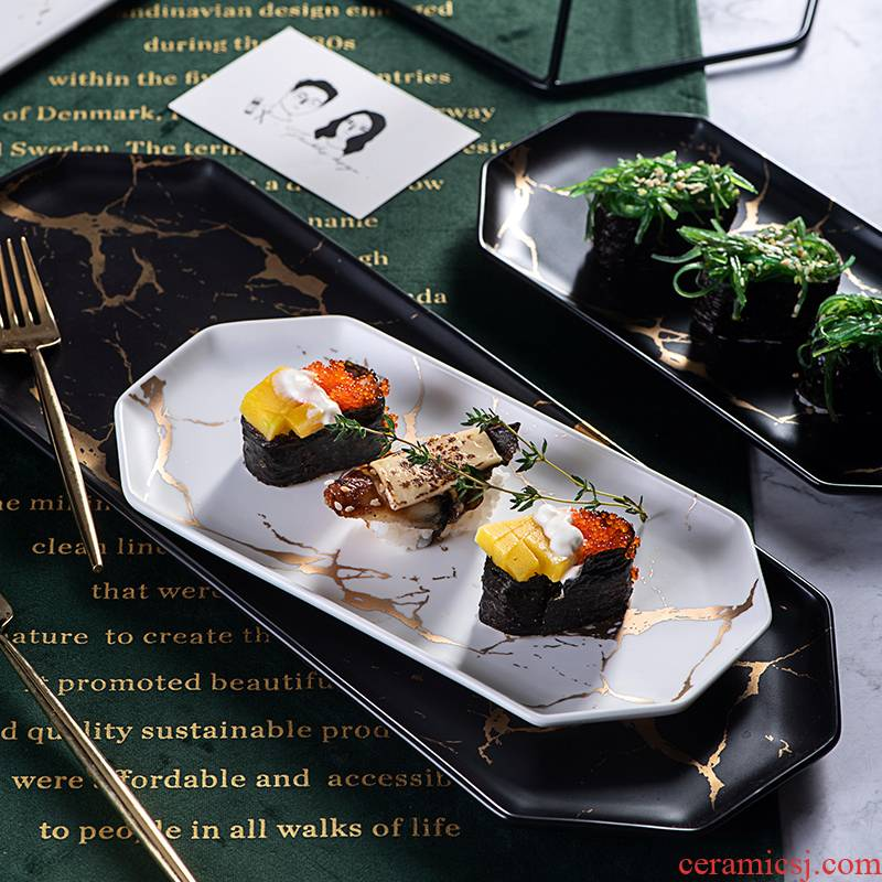 The Nordic marble plates creative ceramic household irregular rectangular plate sushi plate dessert plate tray was dinner plate