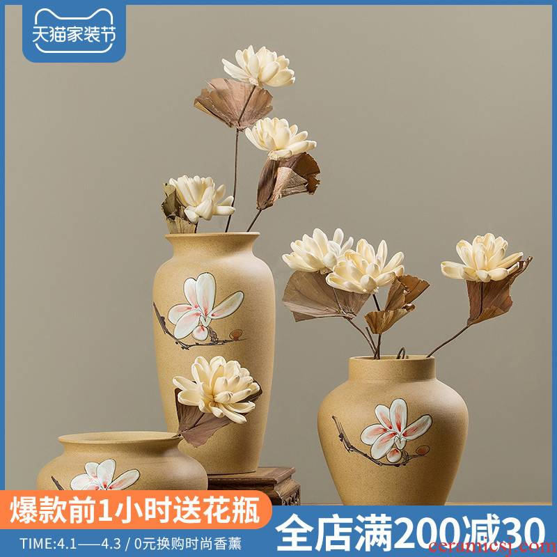 New Chinese style hand - made ceramic vase large sitting room place flower arranging flowers home wine dried flower adornment ornament