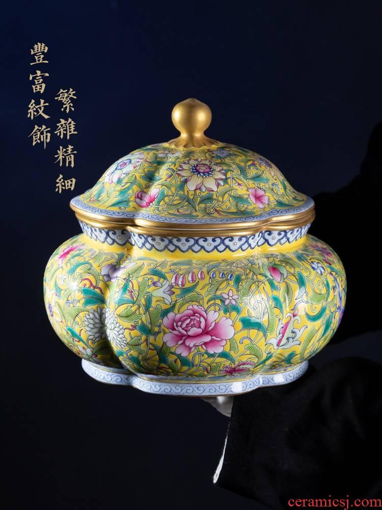 Jia lage jingdezhen ceramic furnishing articles YangShiQi up is yellow see colour flower pot desktop pastel porcelain furnishing articles