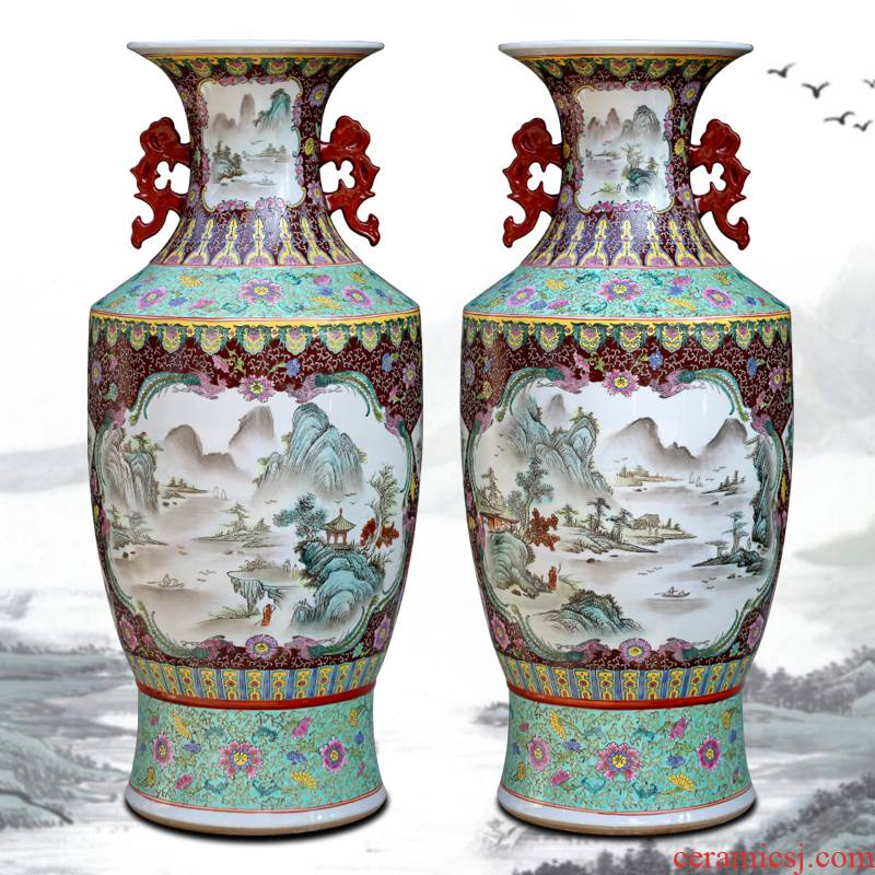 Jingdezhen ceramic floor large sitting room adornment is placed with Chinese style ear famille rose porcelain vase study