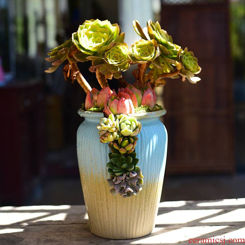 Fleshy flower - pot creative ceramic large move Helen tao basin have meat meat plant pot old running the household clearance